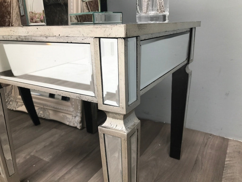Small mirrored side table stool
