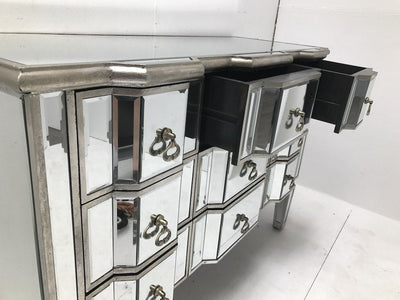 Mirrored Chest Of Drawers With 9 Drawers And Vintage Finish with top drawers opened