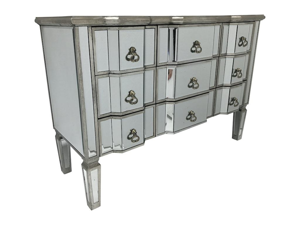 Mirrored Chest Of Drawers With 9 Drawers And Vintage Finish Charleston