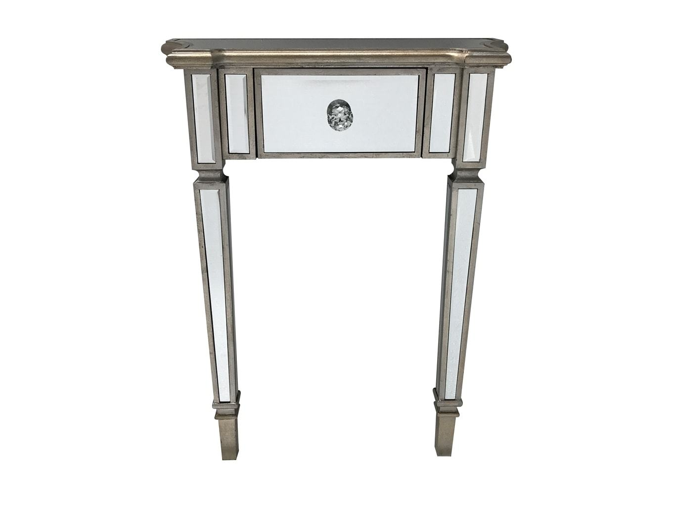 mirrored console table with one drawer and diamante handle