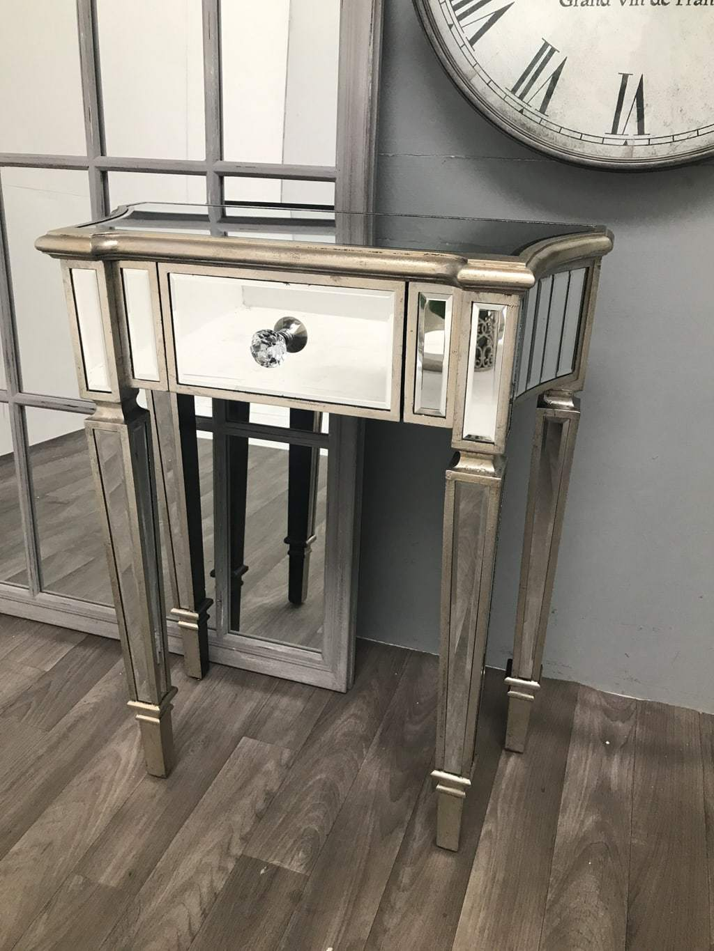 Mirrored Side Table with 1 Drawer - Marbella Collection
