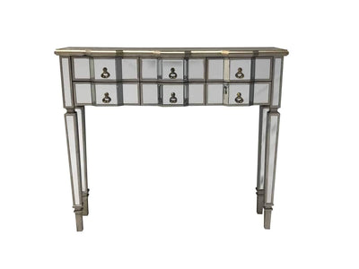 Mirrored console table with six drawers, bevelled mirrors and antiqued silver edges