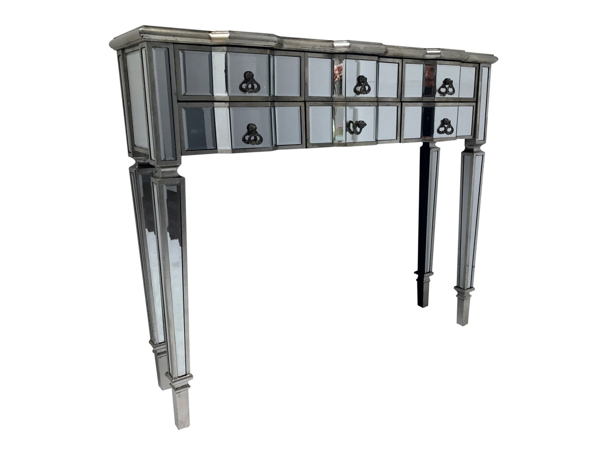 Glass console table with six drawers, bevelled mirrors and antiqued silver edges, view from right side angle