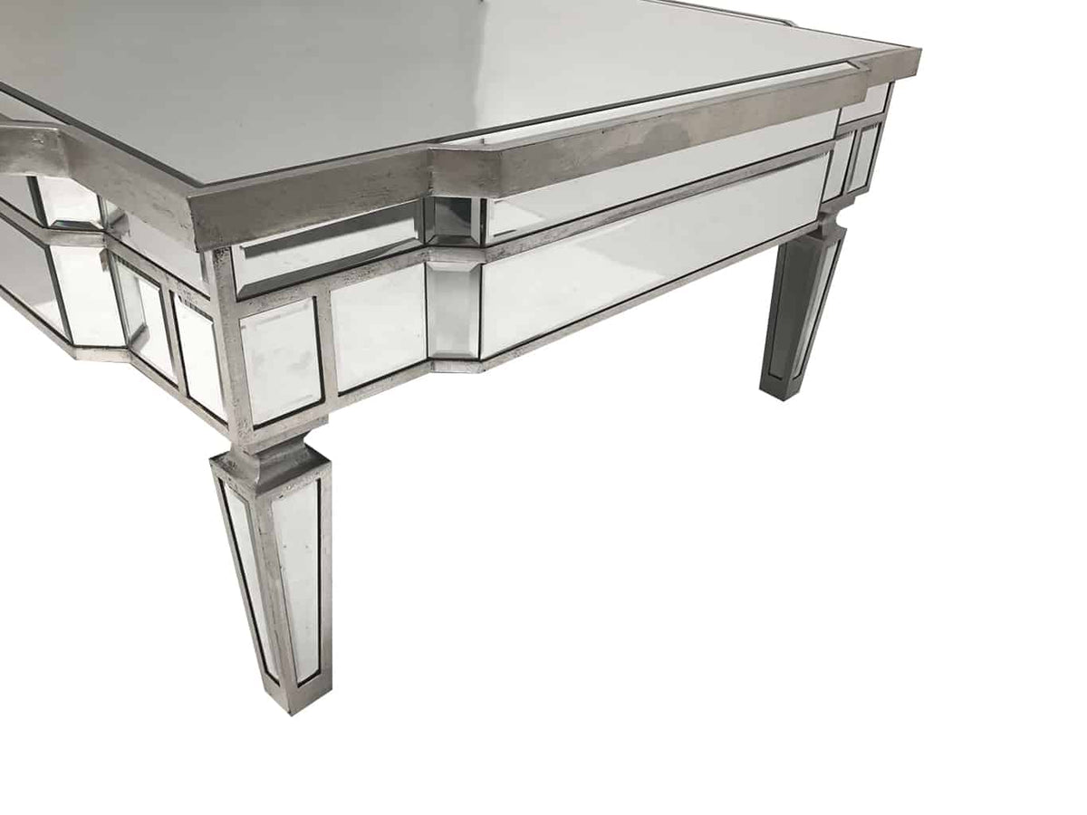 Mirrored Coffee Table with Silver Finish, square