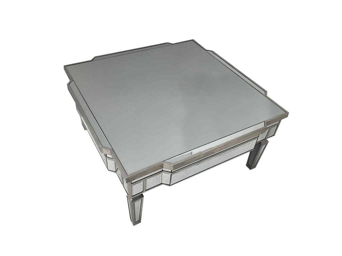 Charleston Square Mirrored Coffee Table with Silver Finish