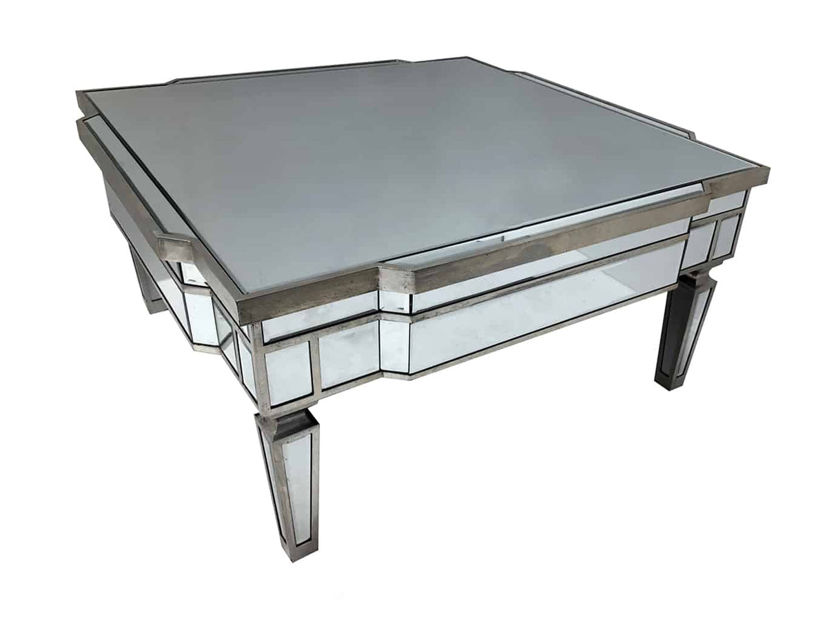 Square Mirrored Coffee Table with Silver Finish