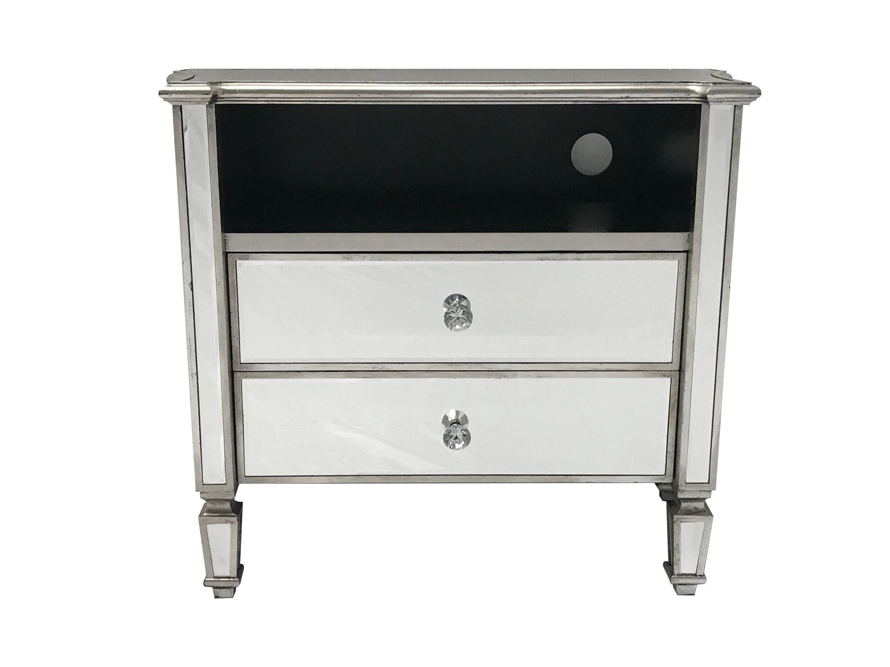 Glass media cabinet with two drawers, front view.