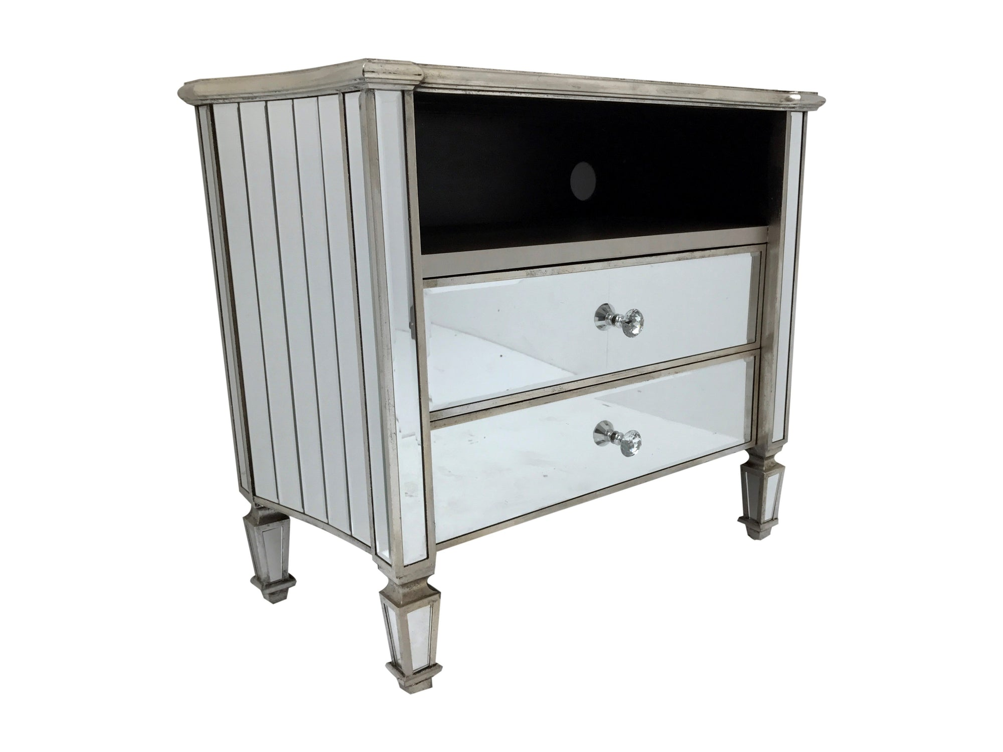 Mirrored TV unit - Glass entertainment cabinet with two drawers and one shelve