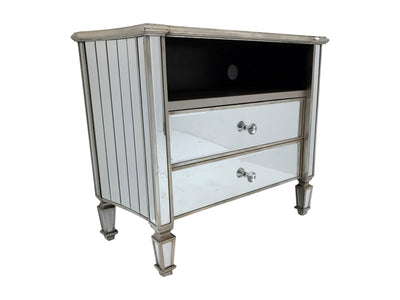 Mirrored TV Unit with two drawers. Angled view from the right front side.