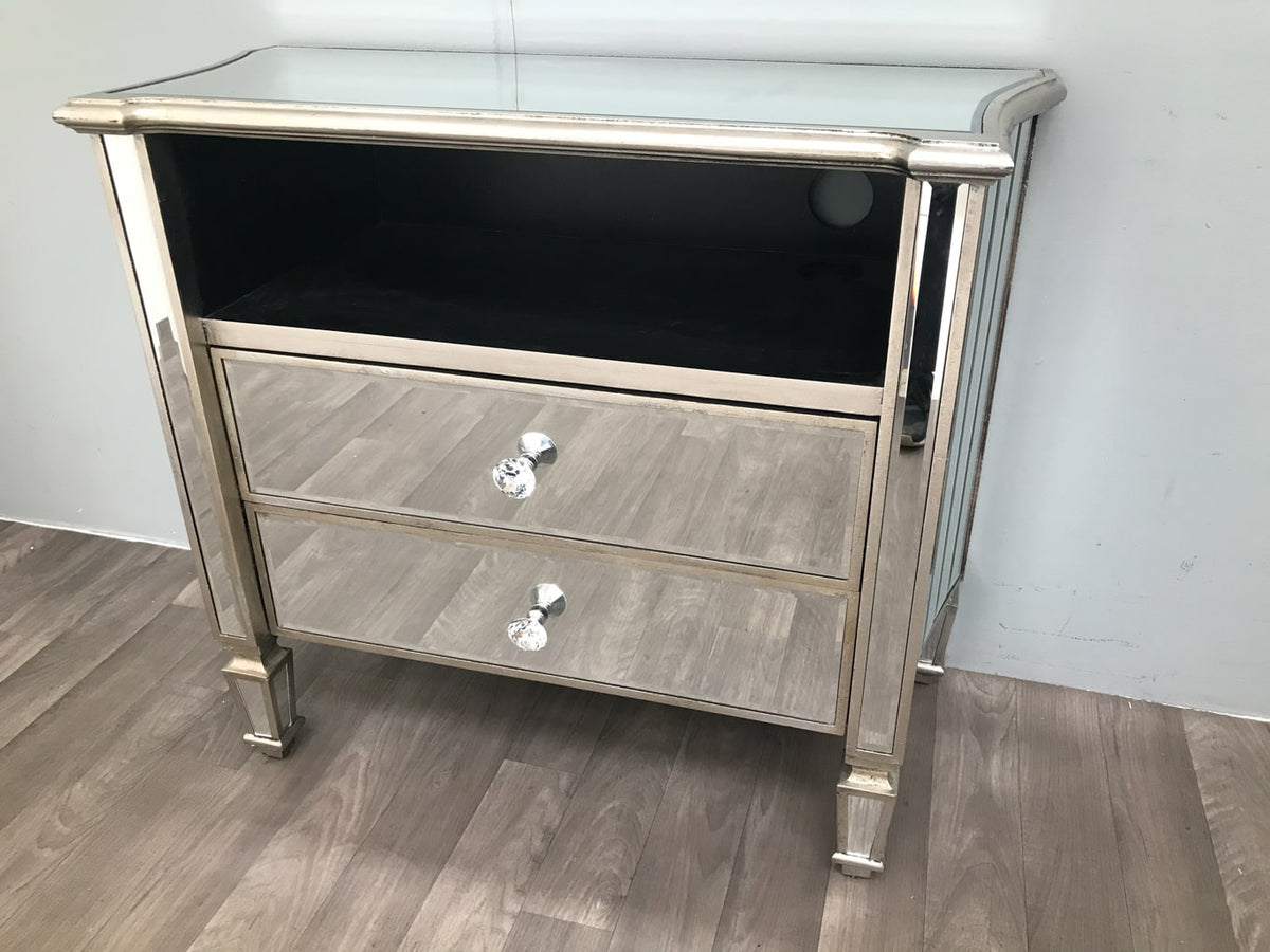 Marbella Mirrored TV Unit with 2 Drawers and 1 Shelf