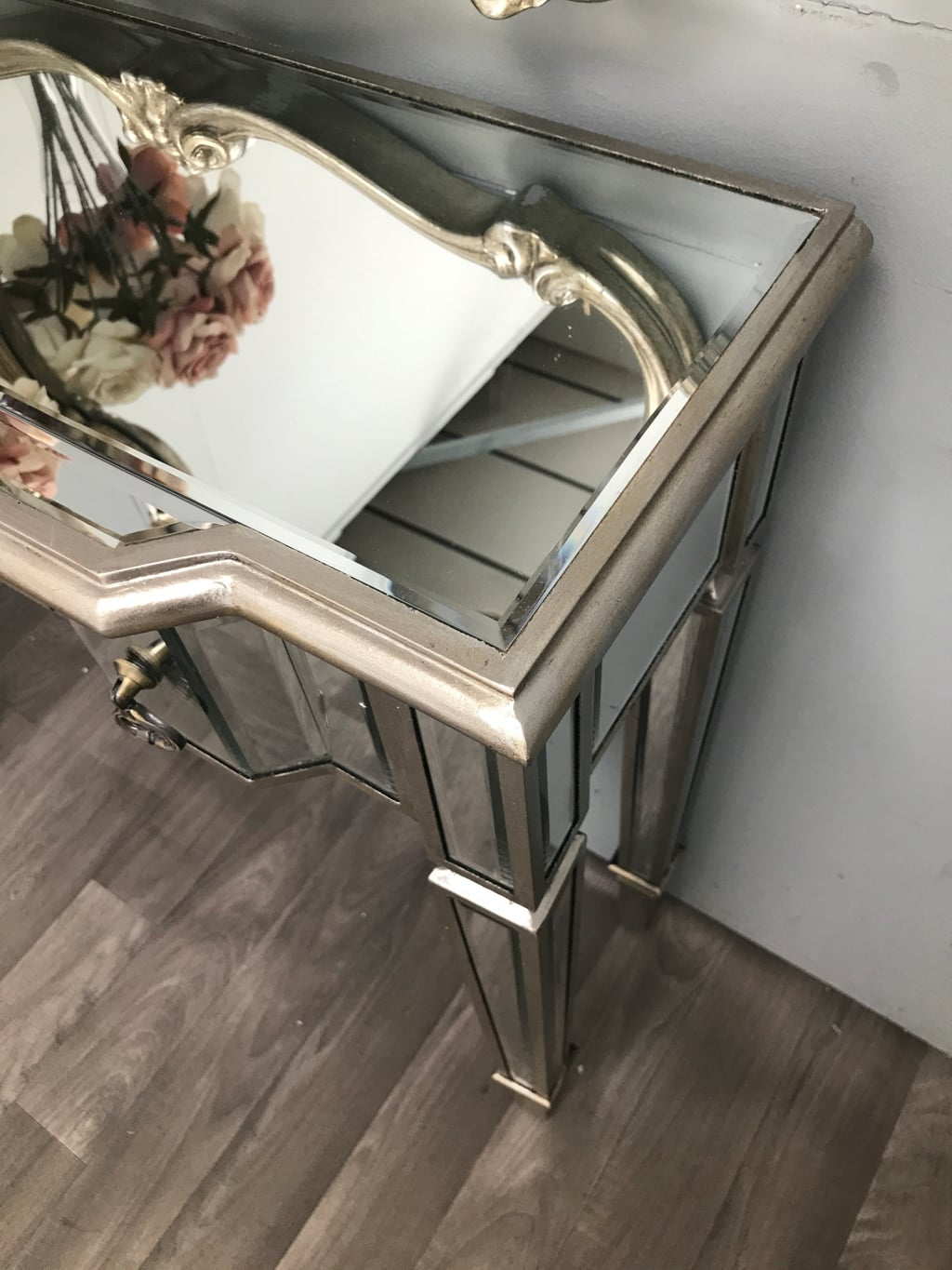 Charleston Mirrored Console Table With 3 Drawers Slim Vintage Finish