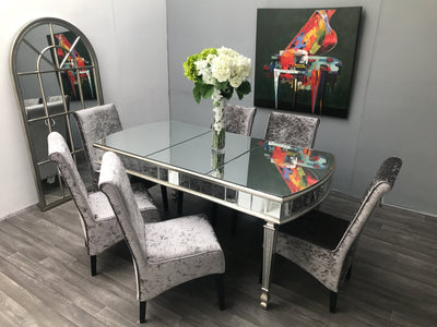 Mirrored Dining Table - Rounded Ends Luxury Antiqued Silver - New York Range