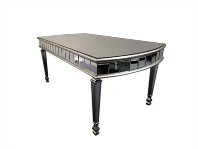 Mirrored Dining Table with Half Moon Rounded Edges in Luxury Antiqued Silver Finish from New York Range