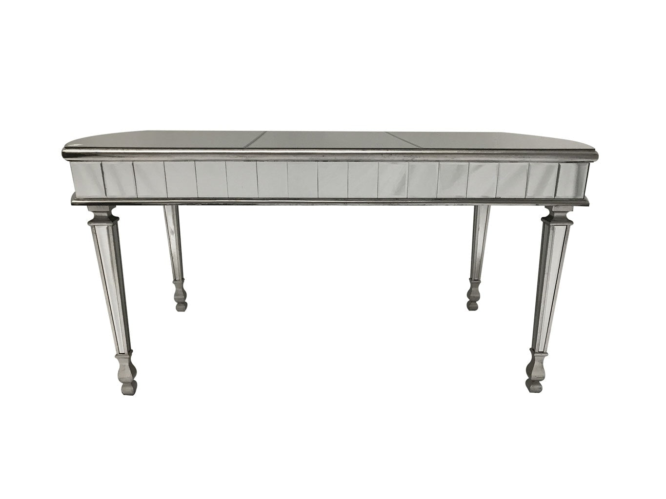 Mirrored Dining Table with Rounded Ends on shorter sides in Antiqued Silver Finish