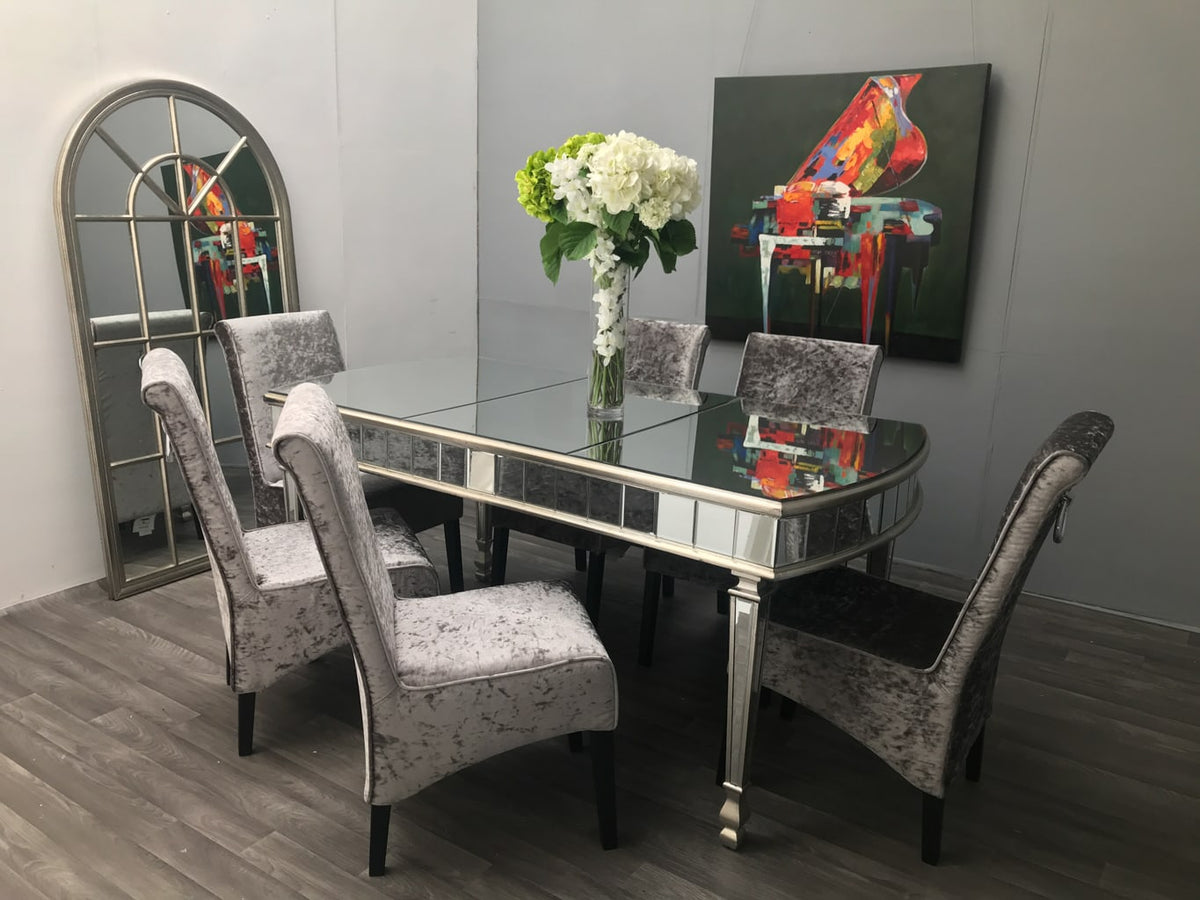 Mirrored Dining Table » Rounded » 6 Seats