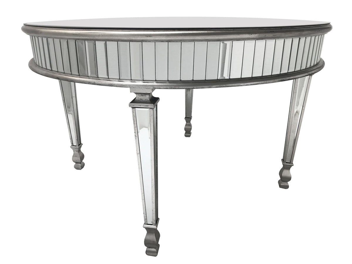 Mirrored dining table with antiqued silver finish, accommodates 4 dining chair seats
