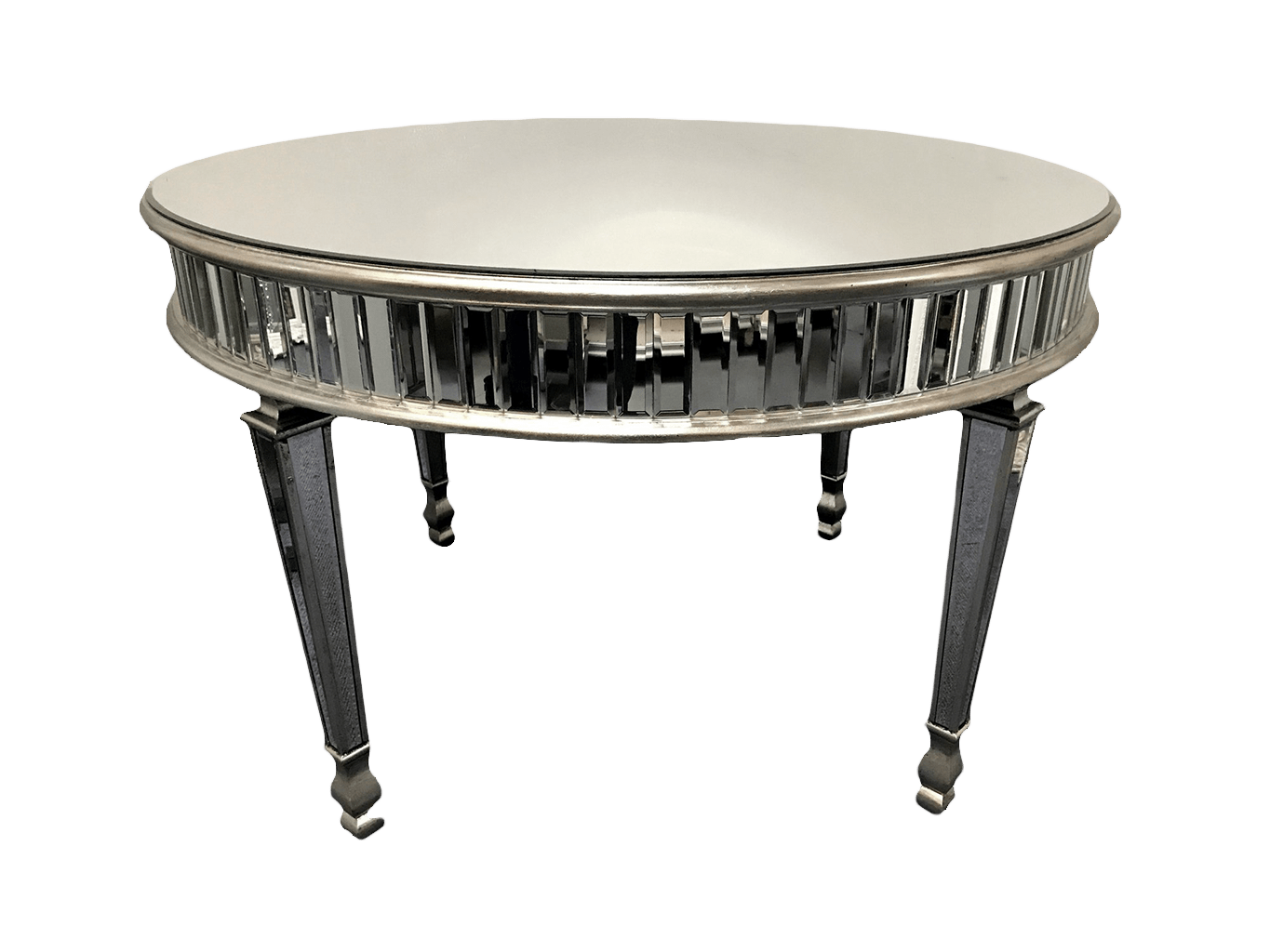 large Round Mirrored Dining Table, glass top, silver rim finish, fits 4 chairs