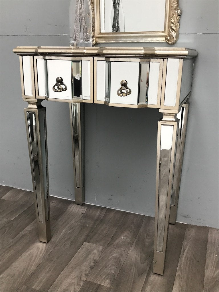 Silver Mirrored Dressing Table - slim design