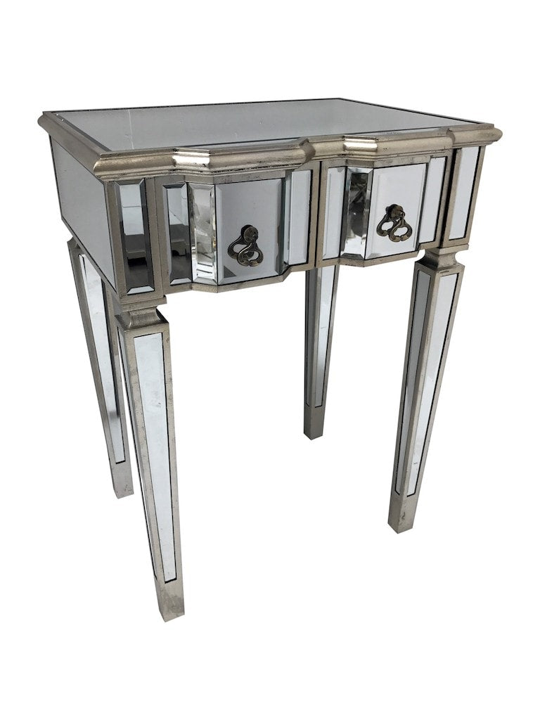 Silver Mirrored Dressing Table with 2 Drawers and brass drop pulls