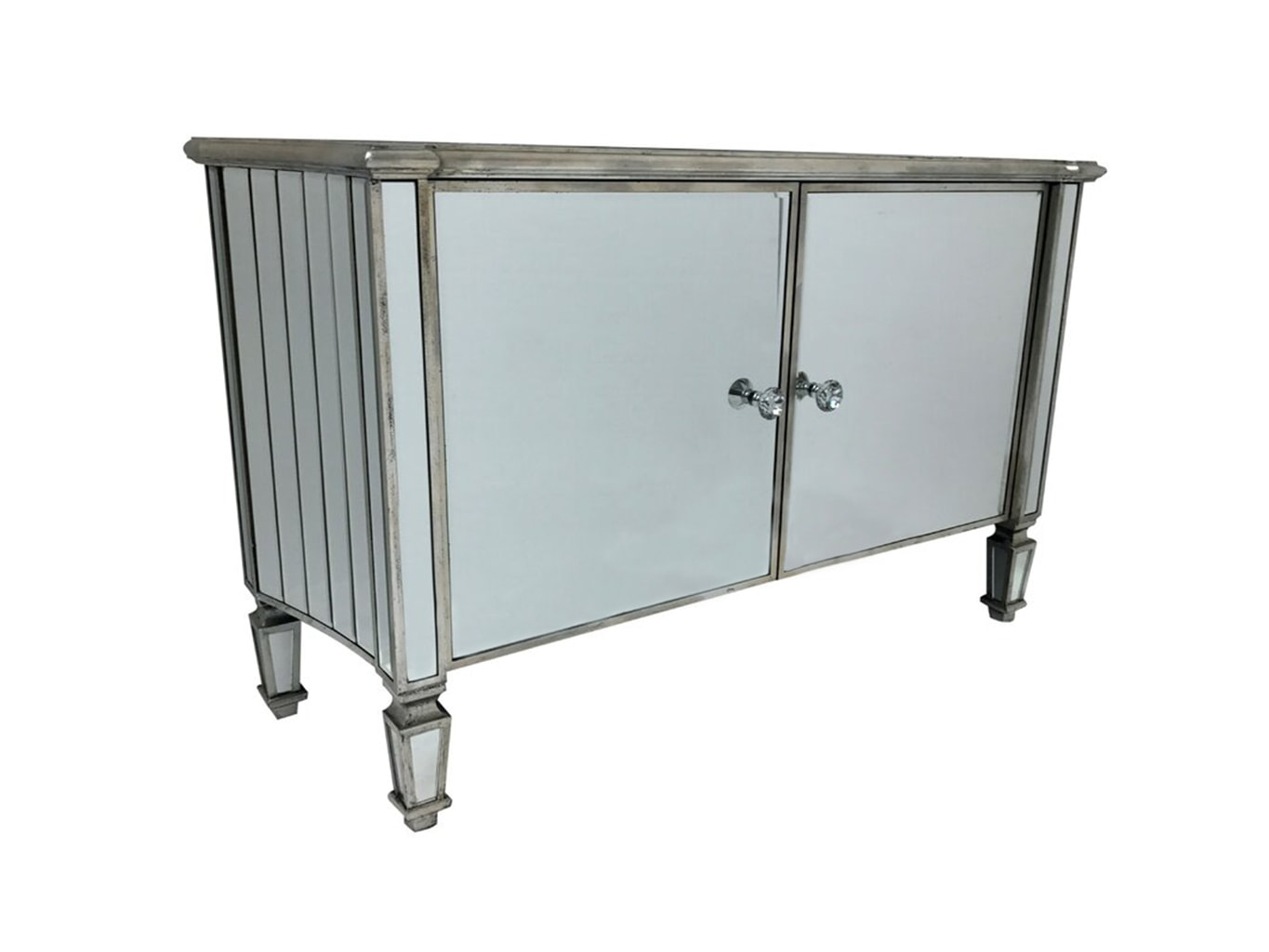 Marbella Mirrored Sideboard with 2 Cupboards and Diamante Handles