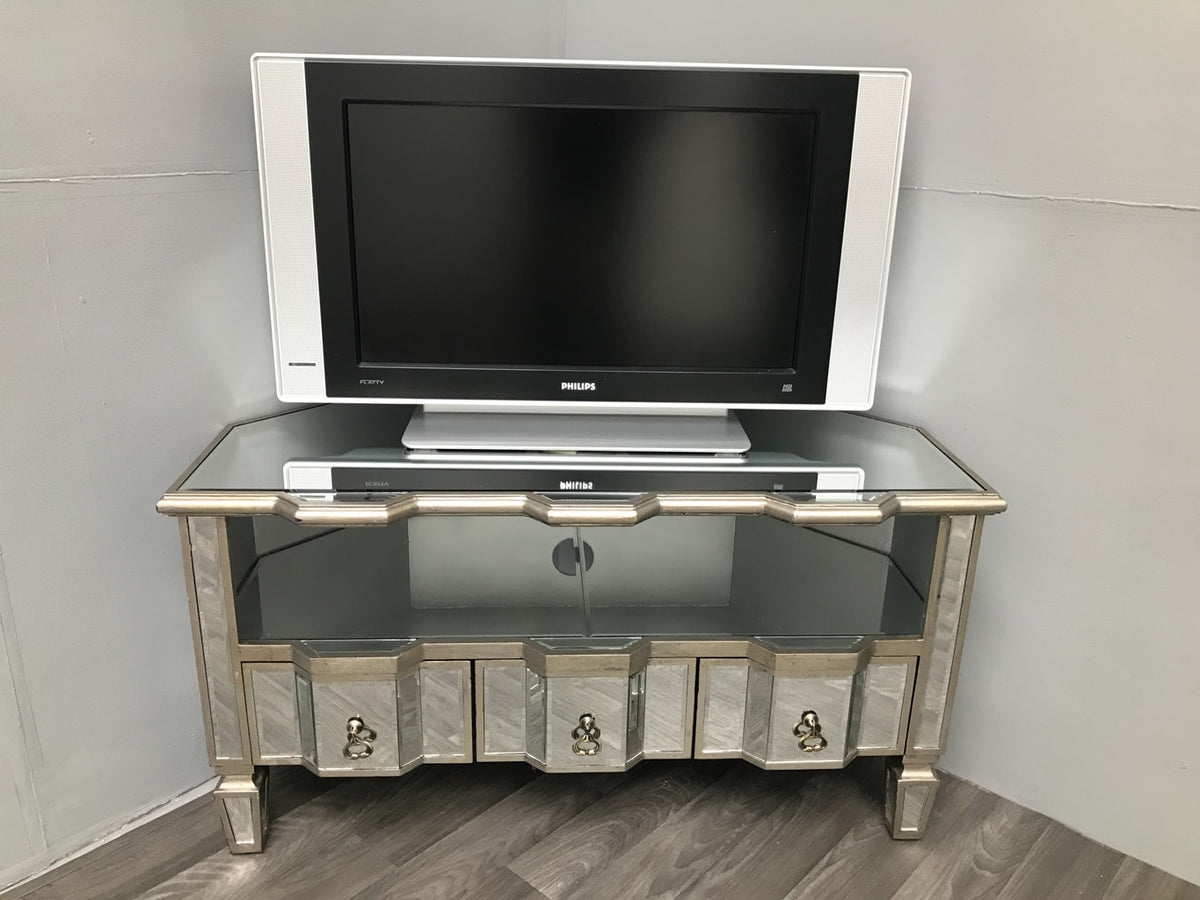Corner mirrored table tv stand with drawers