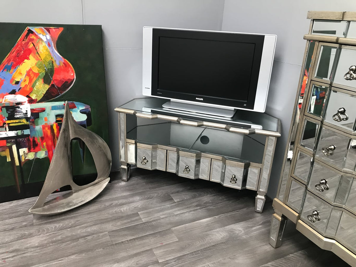 Charleston corner Mirrored tv unit with glass panels