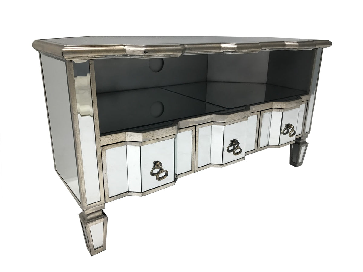 Corner Mirrored tv unit with drawers and a shelf