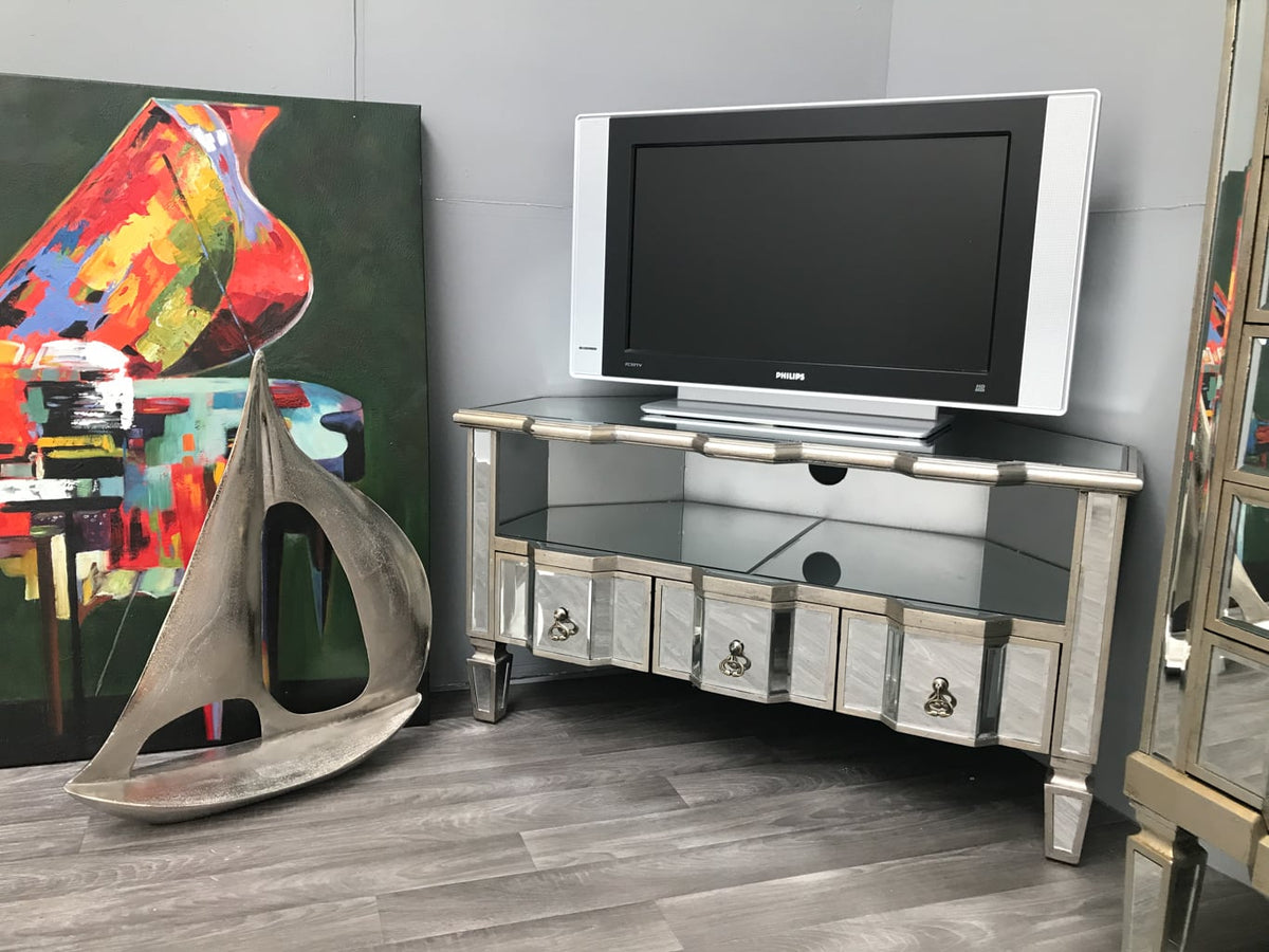 Corner Mirrored tv unit