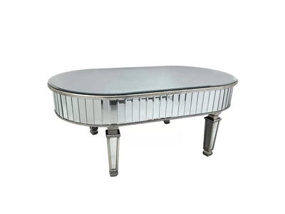 New York Oval Coffee Table with Mirrored Panels