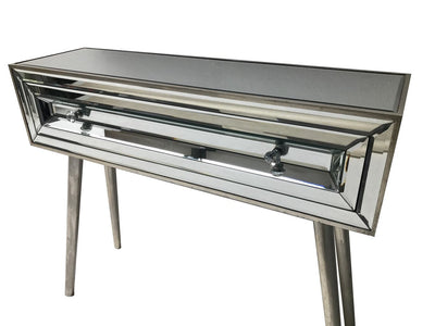 Mirrored console table with a single drawer, view from the left top angle