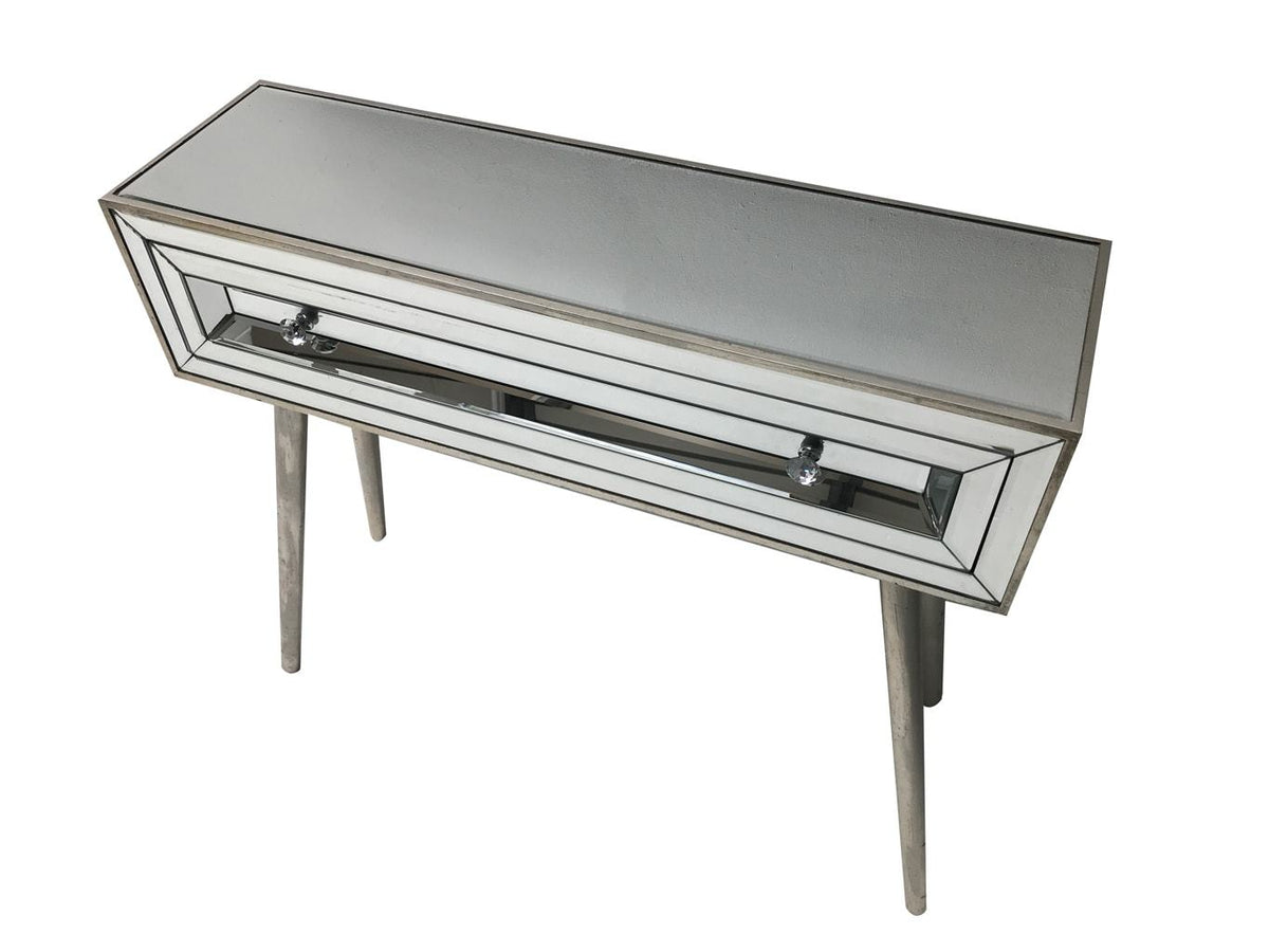 Glass console table with a single drawer, view from the left top angle