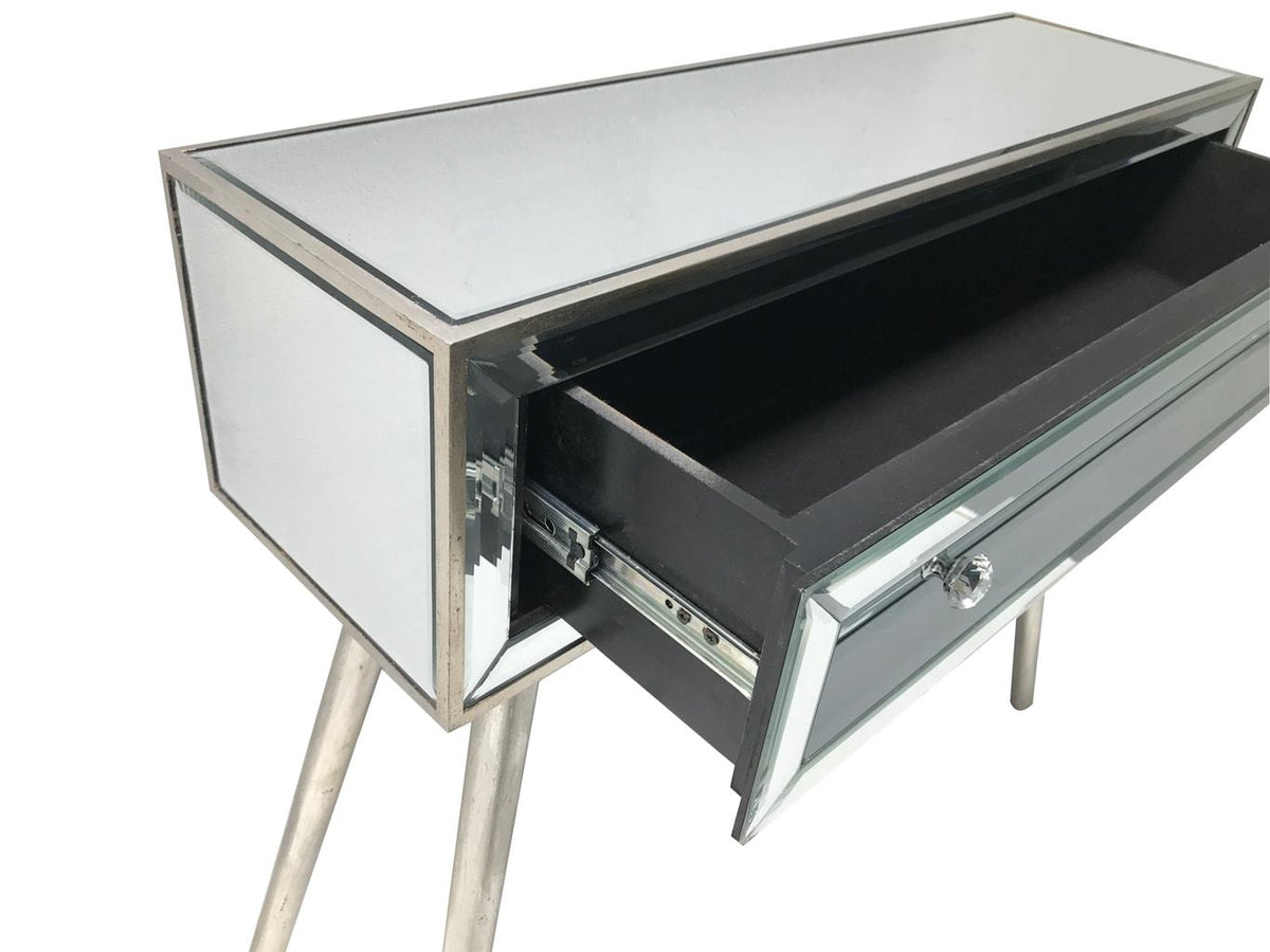 Mirrored console table with an open single  drawer, view from the right top angle