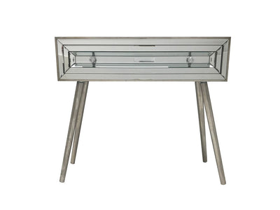 Mirrored console table with a single drawer, view from the font