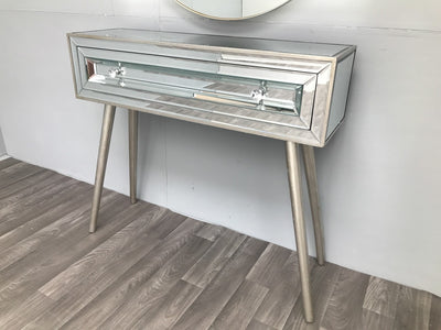 Mirrored Console Table with two handles and one drawer - Hollywood Collection