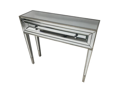 Glass console table with one drawer, view from the right top angle