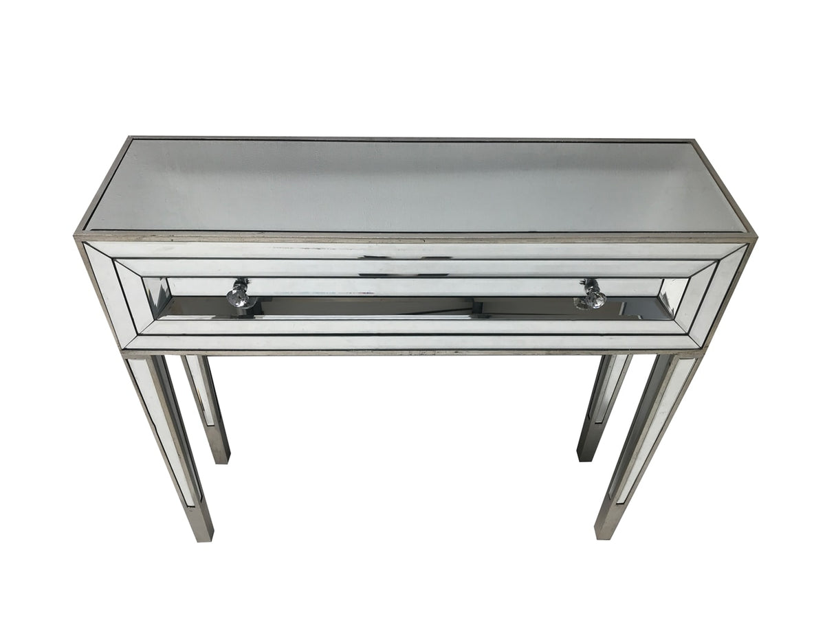 Glass console table with one drawer, view from the front top angle