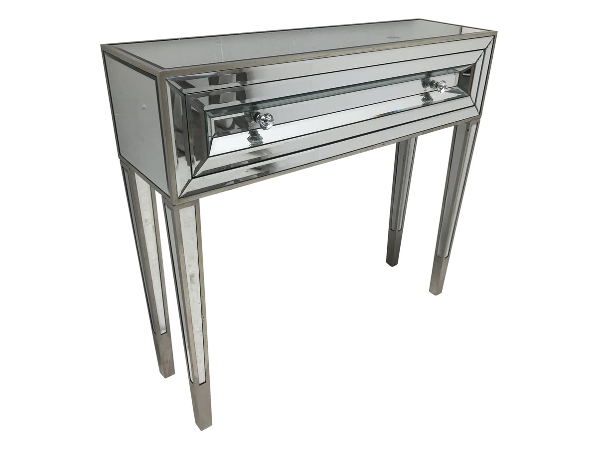 Mirrored console table with one drawer, view from the left top angle