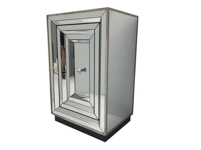 Mirrored bedside table with glass door, view from the left front side