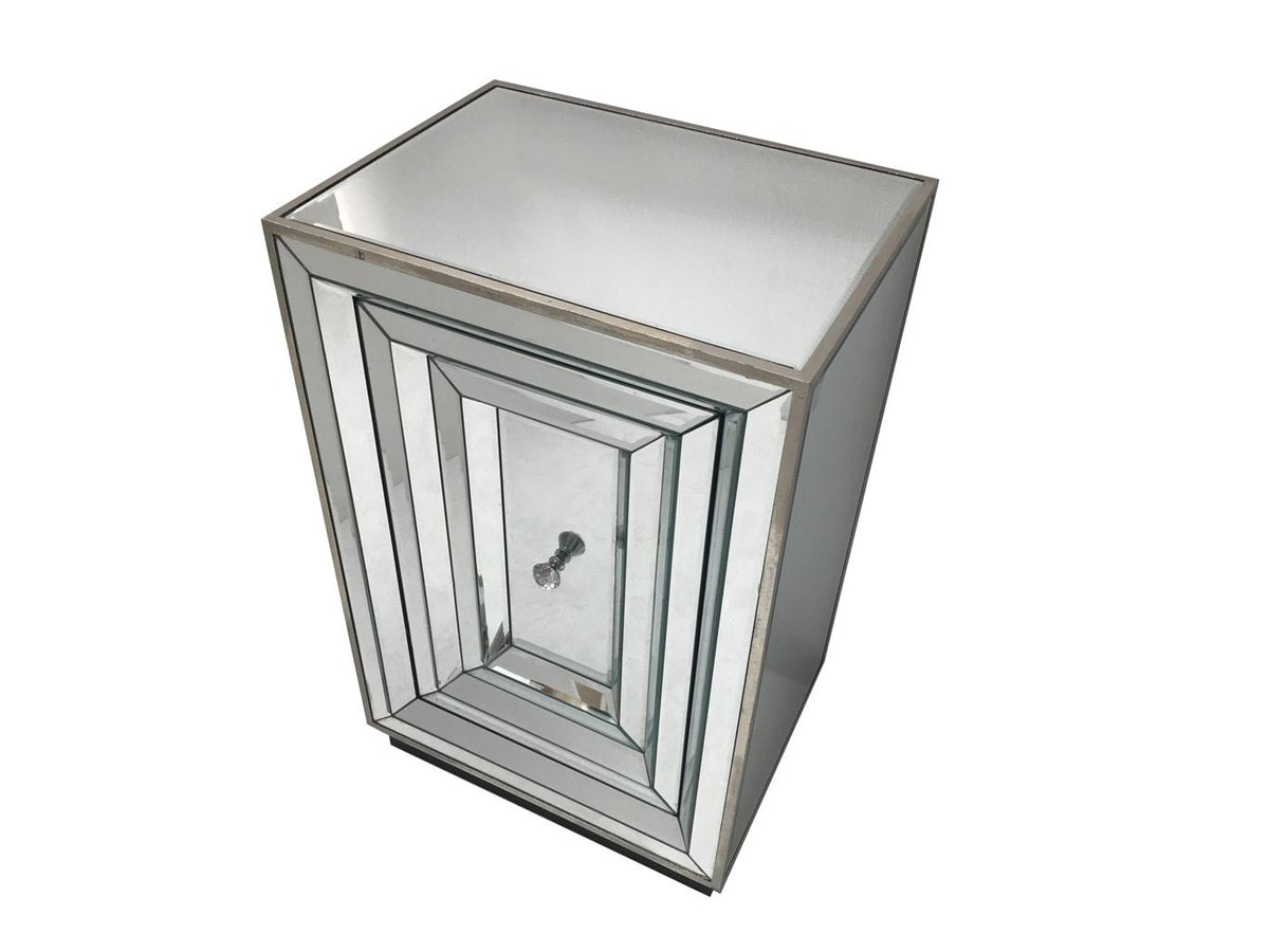 Mirrored bedside table with one door and diamante handle, view from the top-front angle