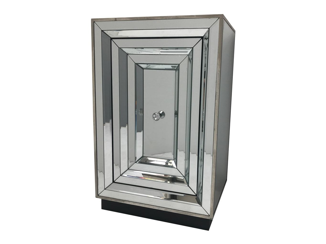Mirrored side table with door and diamante handle in the middle