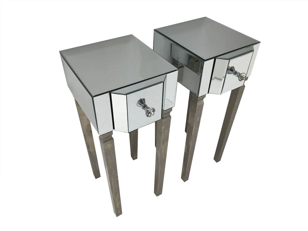 Pair of Venetian Bedside Tables with Mirrored Panels and Diamante Handles