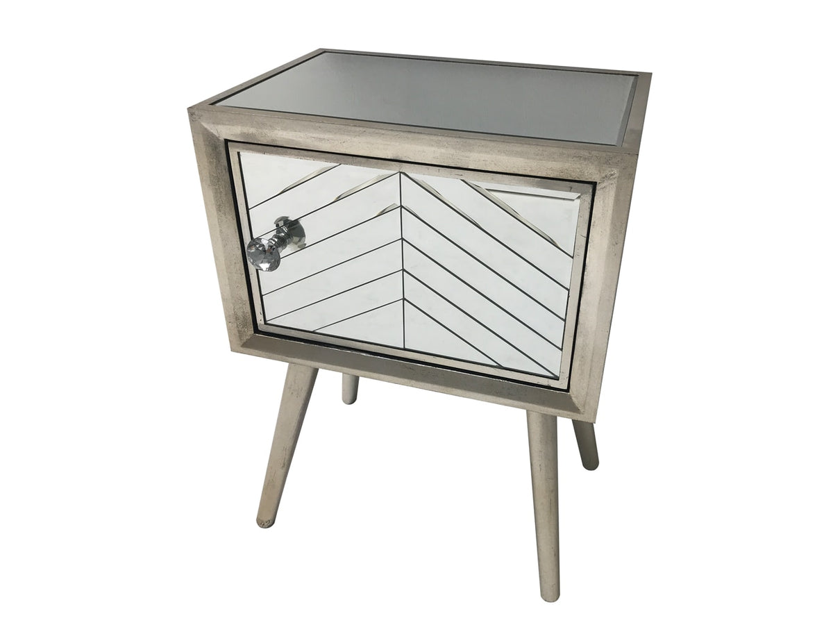Silver Finish Glass Bedside Table with one door and diamante handle