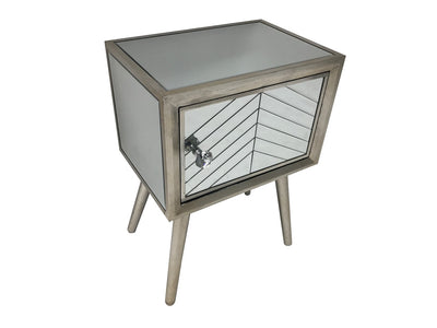 Silver Finish Glass Bedside Table with one door and diamante handle, view from top right angle