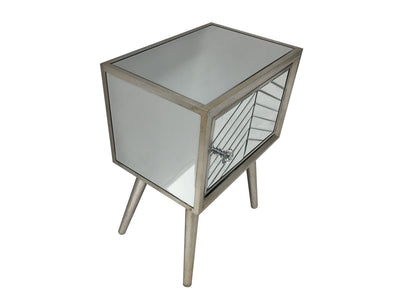 Silver Finish Mirrored Side Table with one door and diamante handle