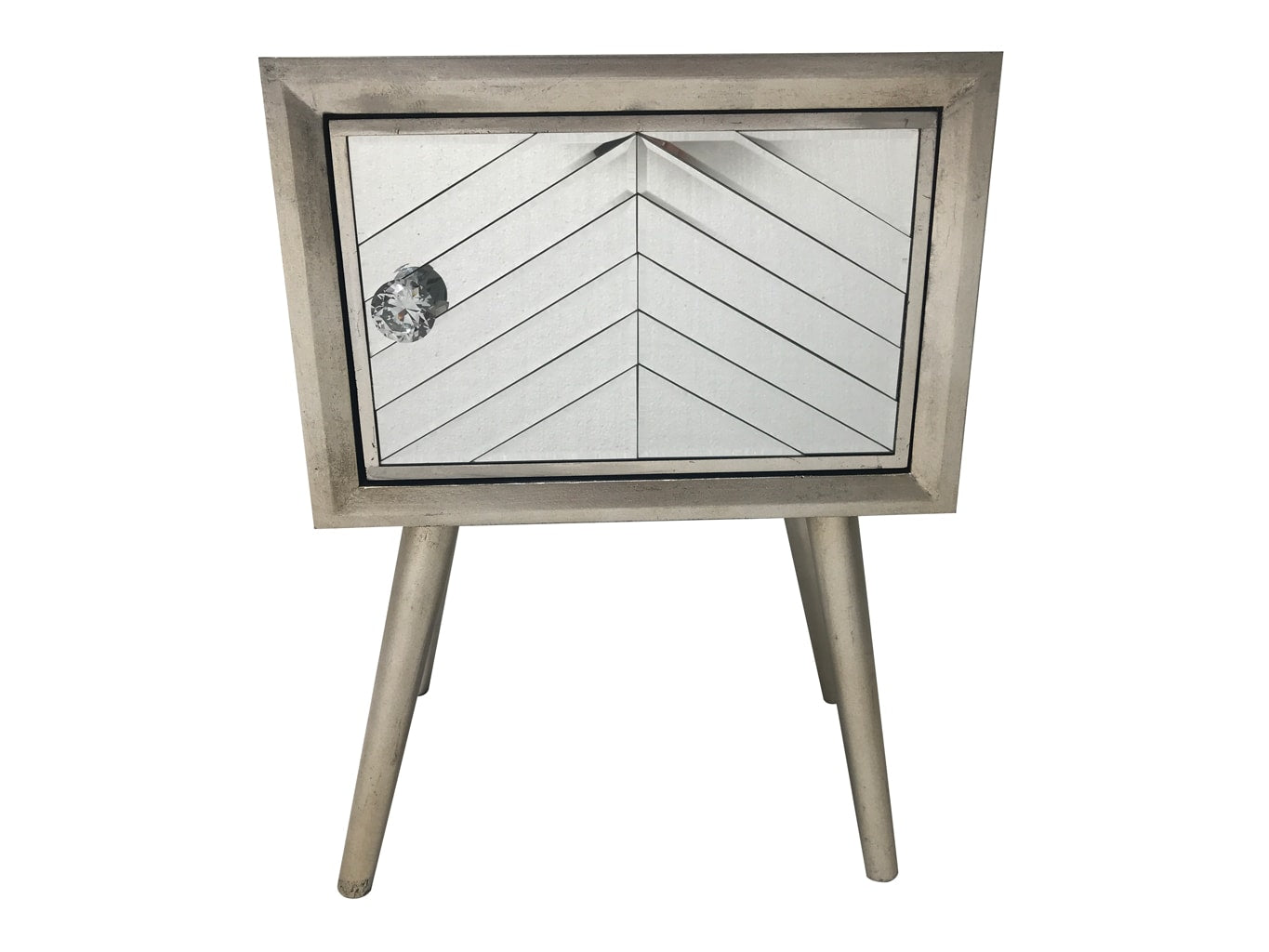 Silver Finish Mirrored Bedside Table with one door