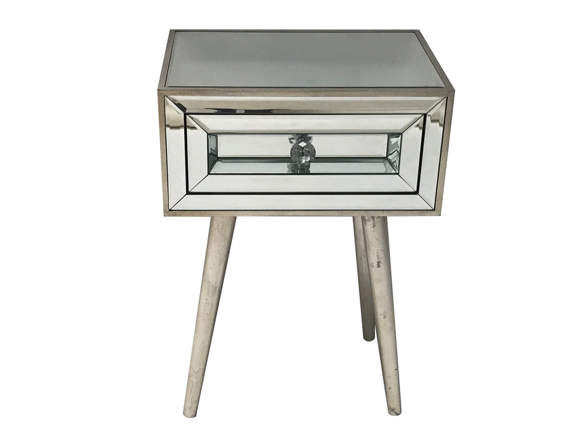 Silver Mirrored Bedside Table » Stylish Drawer