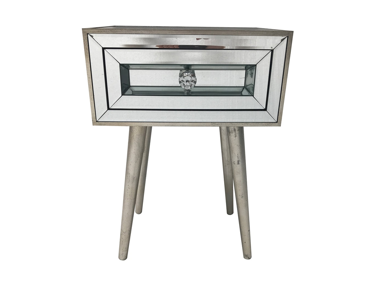 Mirrored Bedside Table with one drawer and diamante handle