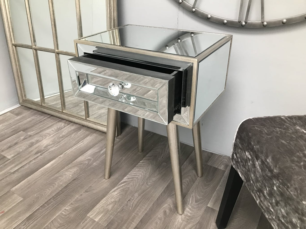 Mirrored Side Table with one drawer and diamante handle