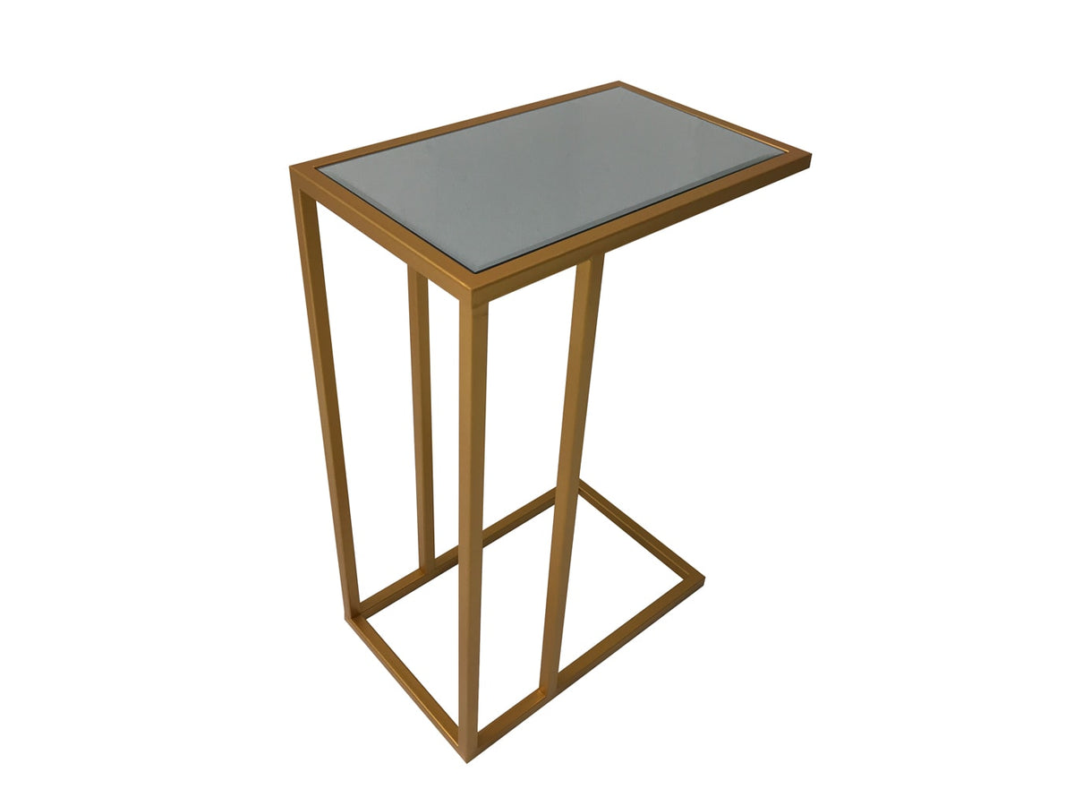 Side Table in Antiqued Gold Finish with Mirrored Top Shelf