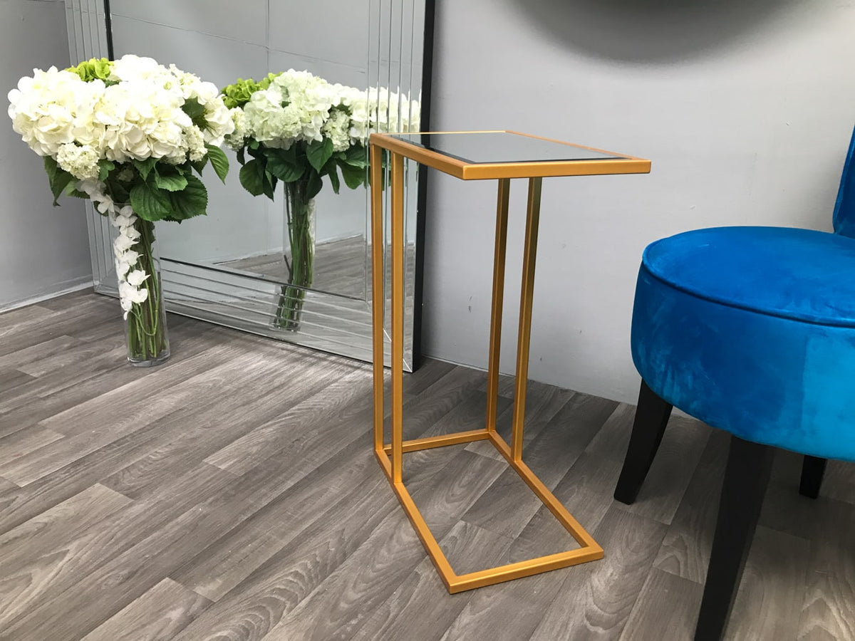 Sofa Side Table in Golden Colour Finish with Mirrored Top
